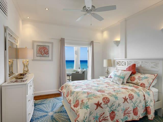 Upper level bedroom, Ocean View (Coral Room) Queen bed