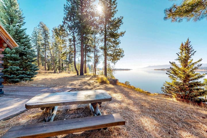 NEW LISTING! Lakefront log cabin w/private beach, dock, firepit & views-1 dog OK