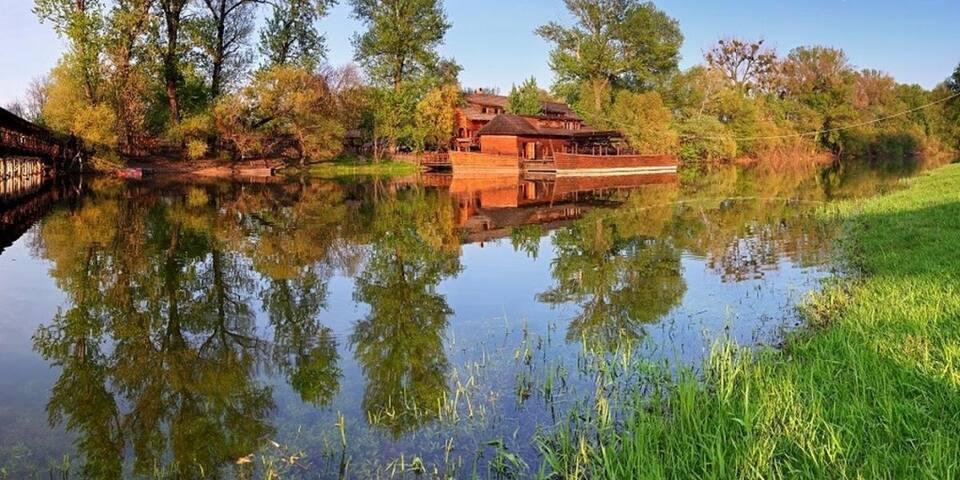 Old watermill in nearby Kolarovo's recreation area.