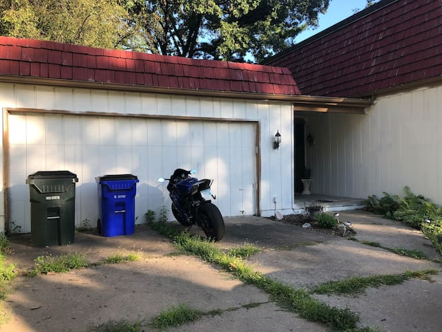You can park in the driveway in front of the garage