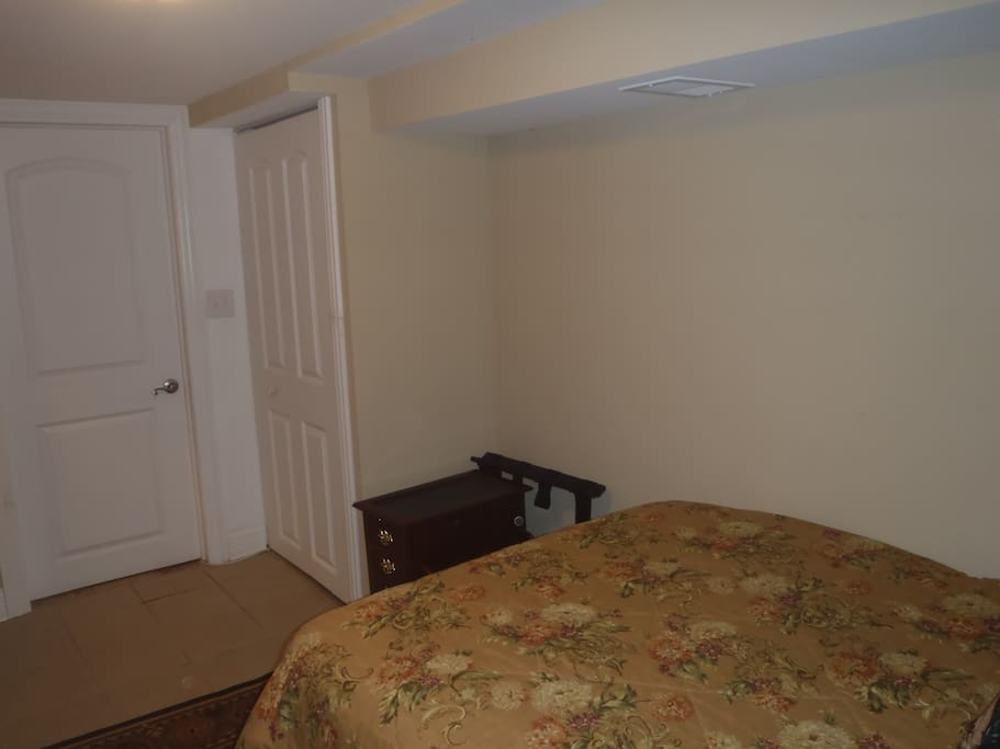 "This is view from corner of room; 32"" TV and cable box sits on that table."