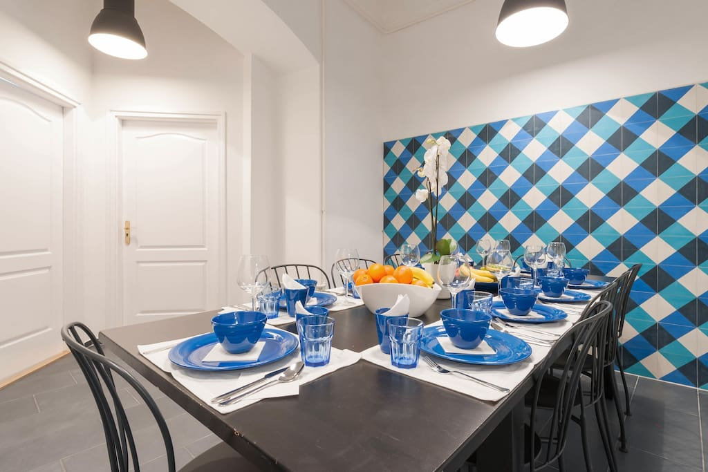 the amazing dining room can sit down 12 persons, the table is big enough to eat together even for a bigger group