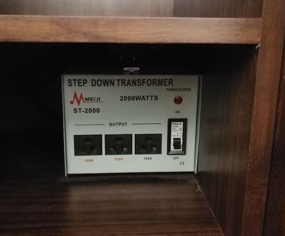 Step down converter from 220 V to 110 V available in the unit.