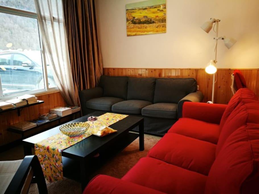 公共区的沙发,可以阅读聊天,喝咖啡,品茶。