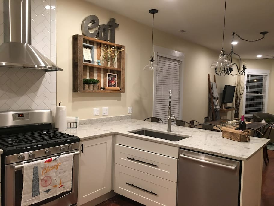 Kitchen with deep sink and dishwasher.