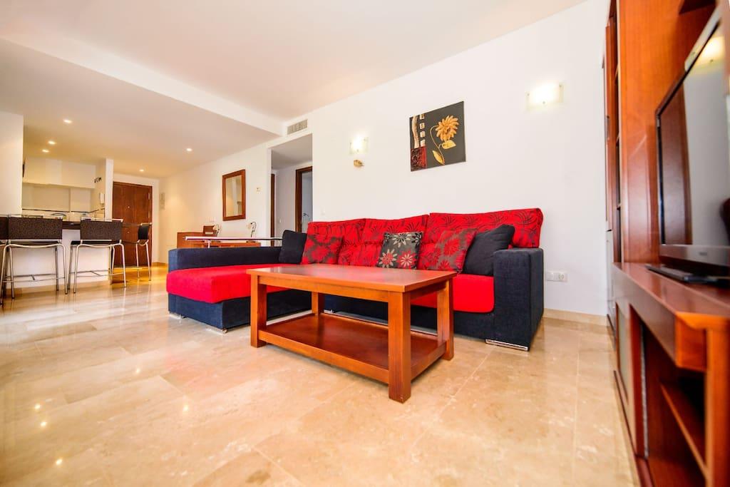 Vista del salón del apartamento situado en Punta Prima, Torrevieja, Alicante, Costa Blanca
