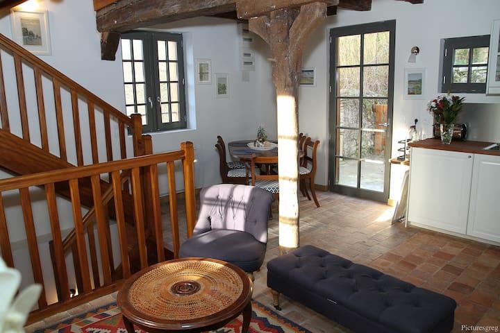 Vue du séjour vers la terrasse. Poutres anciennes apparentes, mobilier ancien, tomettes anciennes, très grande luminosité.