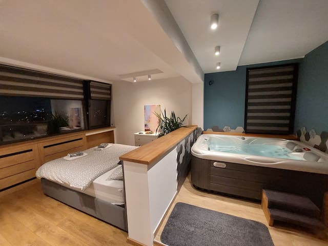 Bedroom, with a Jacuzzi