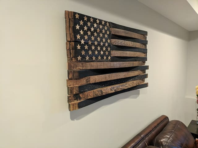 Original bourbon barrel stave flag made by a local artist