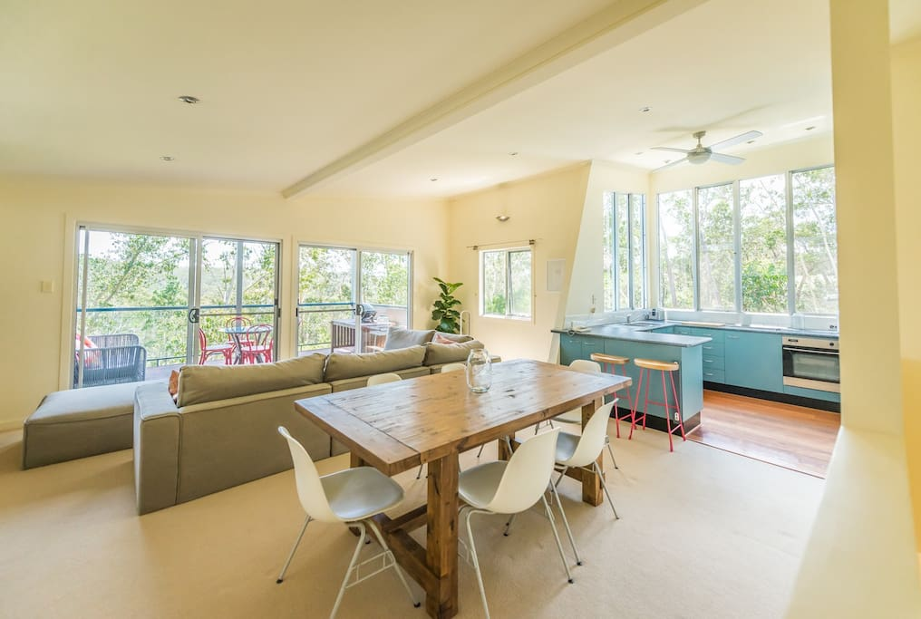 Open living room and dining