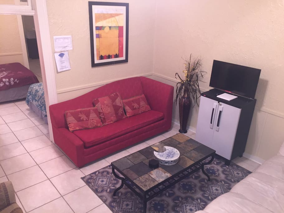 The Living Room has a couch and a sleeper sofa!