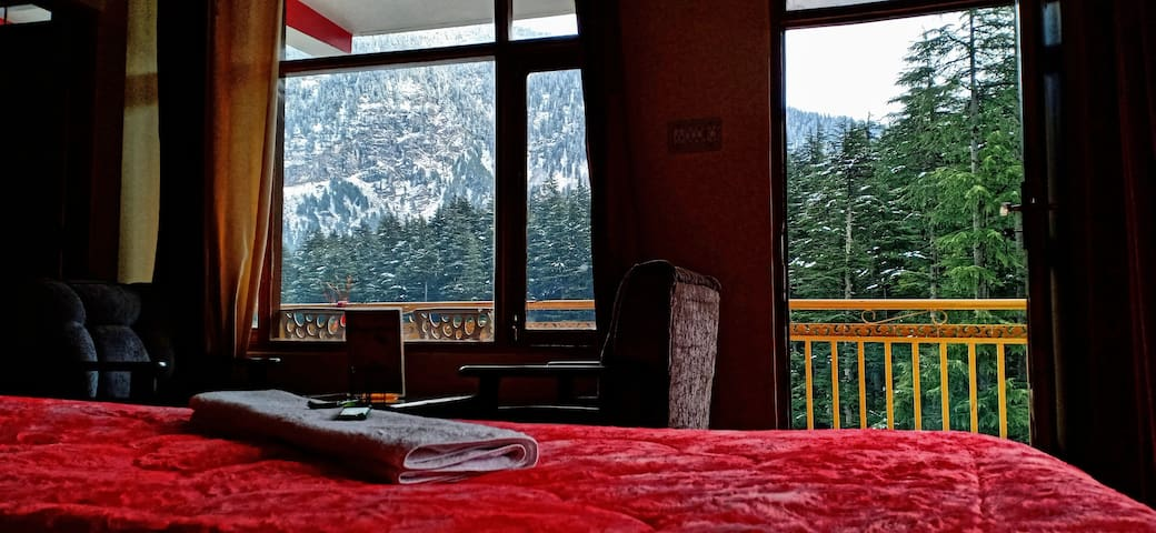 Snowcapped Mountain View From Bed