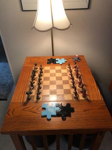 Chessboard and backgammon board on flip side