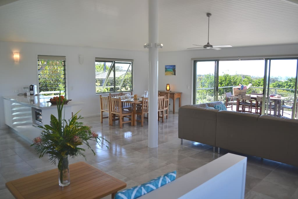 Open living area upstairs in one of the beach houses.