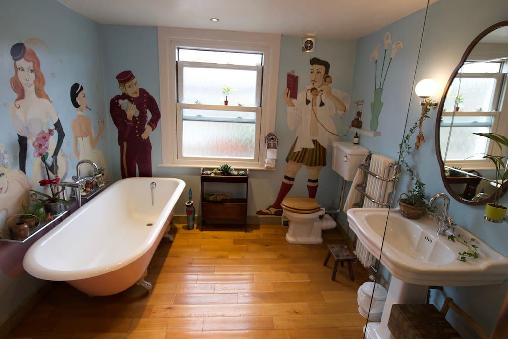 Bathroom cast iron bath and walk in shower