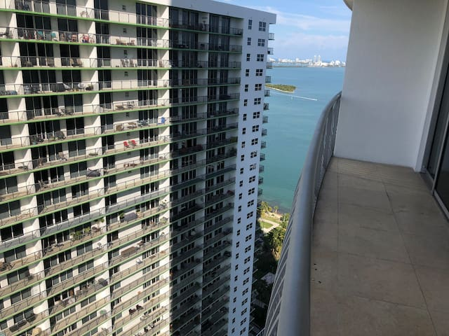 Highrise with a South beach view in downtown Miami