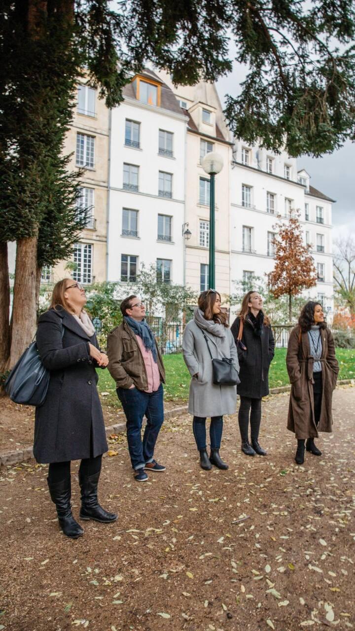 Admiring the oldest tree in Paris