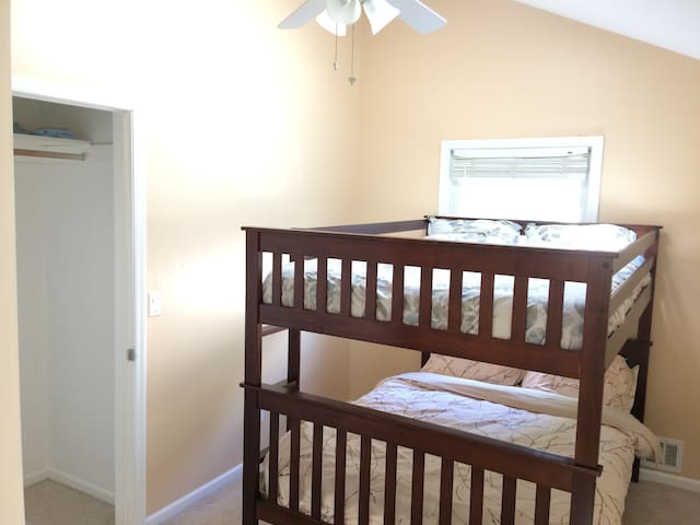 Bedroom-4 in 3rd-floor with another full-over-full bunk bed and closet