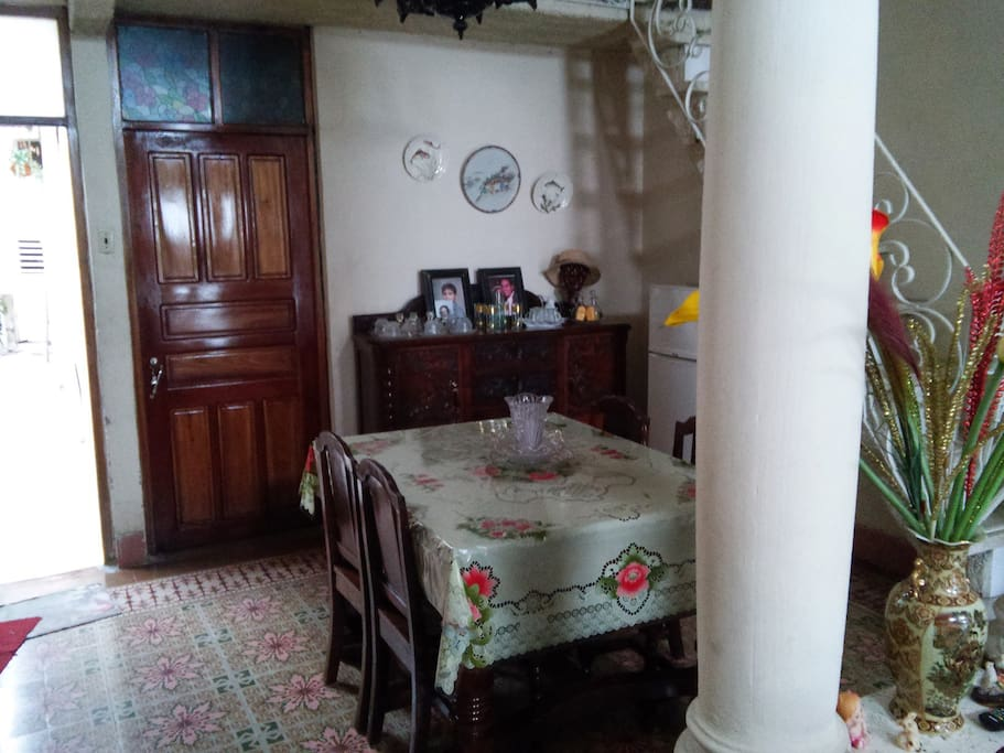 A view of the entrance to the room