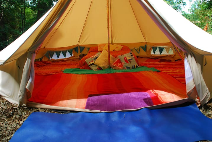 The Blue Bell Tent located in a secluded woodland