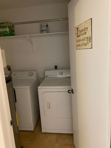 Washer/Drier, water heater and breaker panel.