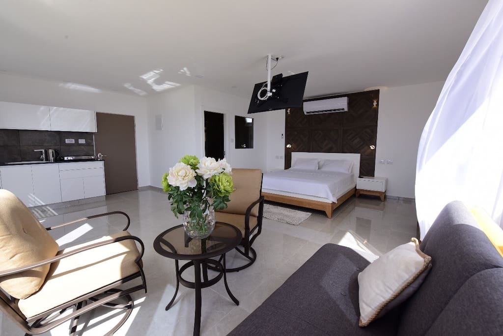 Open space bedroom, hi class smart TV, very useful kitchen with grill, microwave, electric stove, and electric coffee kettle.