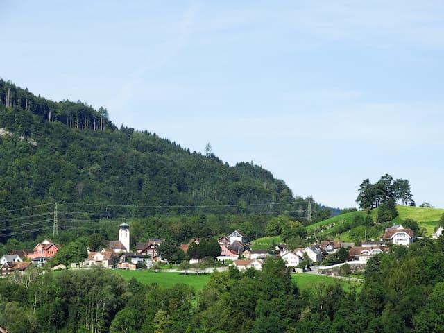 Aussicht vom Balkon auf Kobelwald
