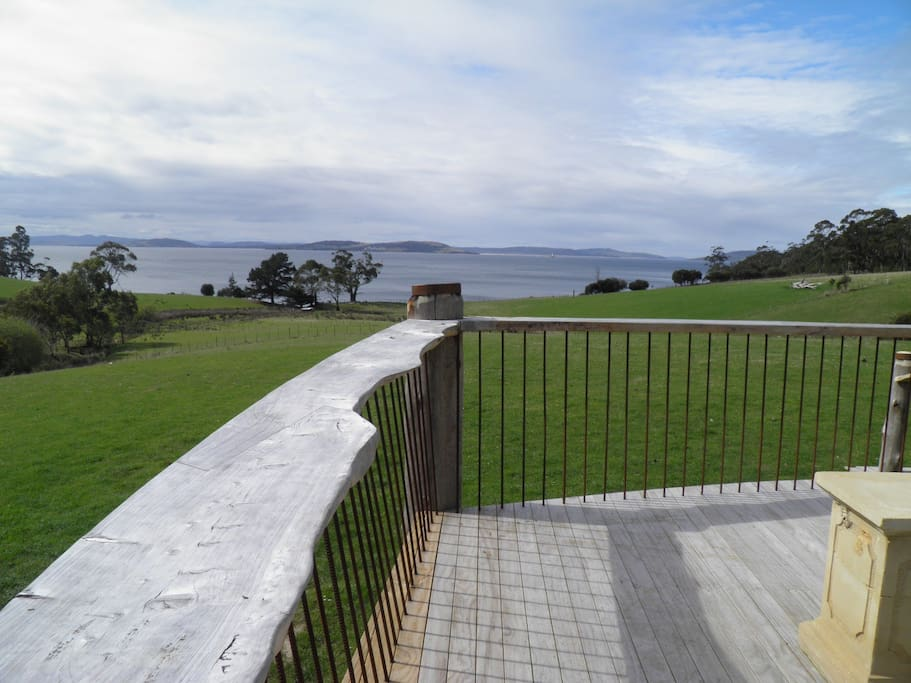 Amazing deck  with handcut Macroparpa railings, bleachers and panoramic views of Storm Bay
