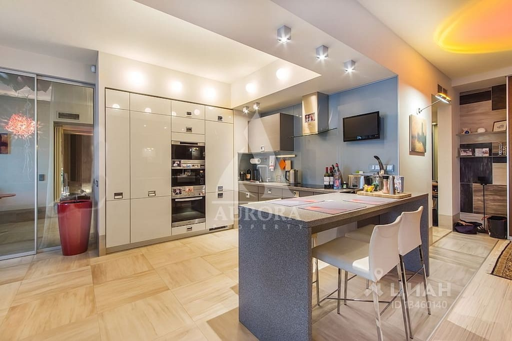 Full-size kitchen equipped to a high standard with Miele appliances, including steamer and microwave. Nespresso coffee machine with capsules and milk included.
