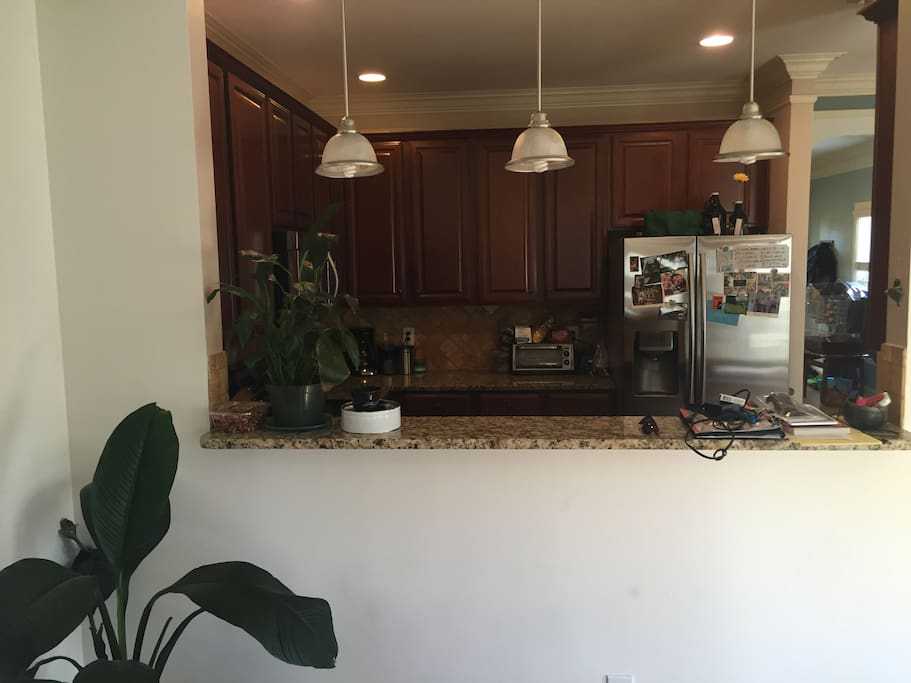 View of the kitchen from the dining room.
