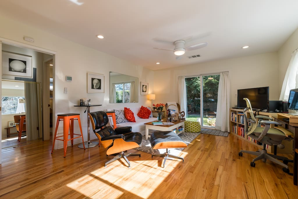 Beautful hard wood floors, LED dimable lighting, ceiling fan, and new HVAC system with your own control panel