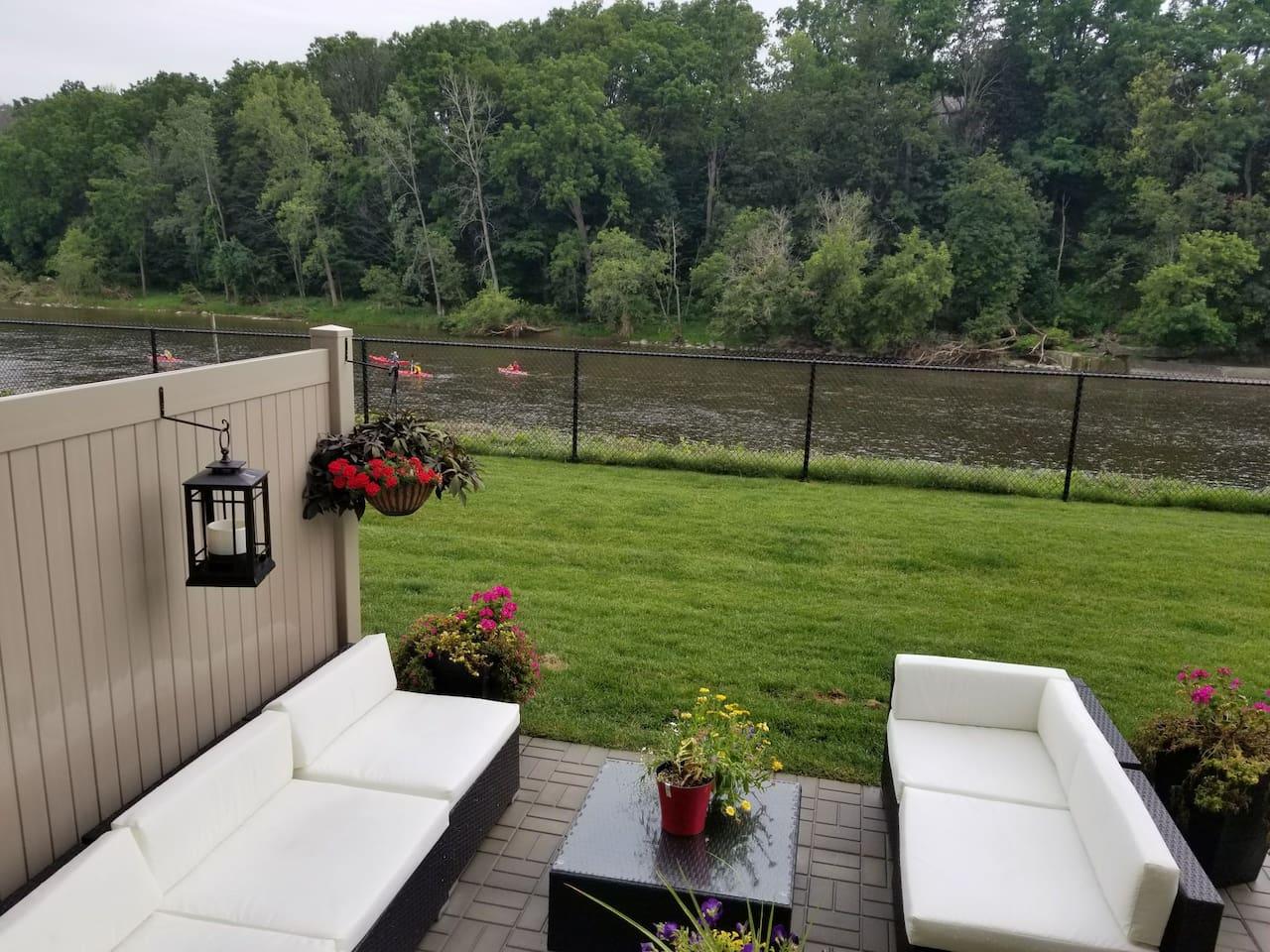 Private patio next to Grand River