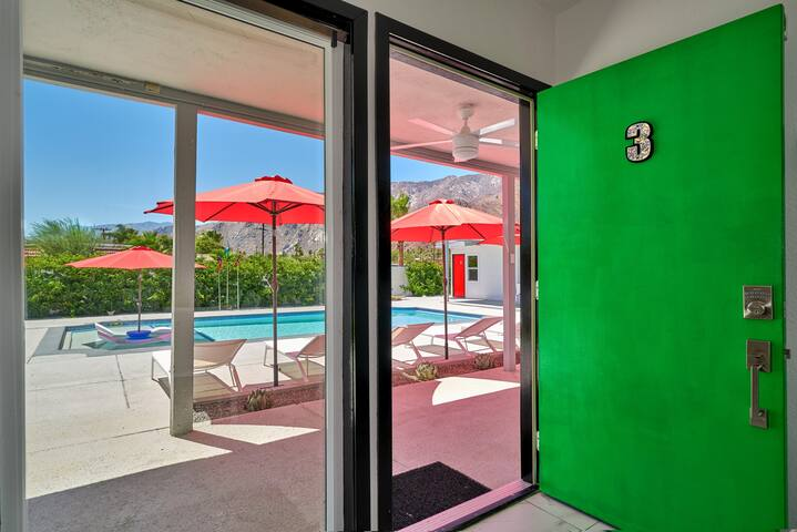 View to pool deck from the front door