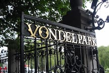 The Vondelpark entrance is a couple hundred meters away from the apartment.