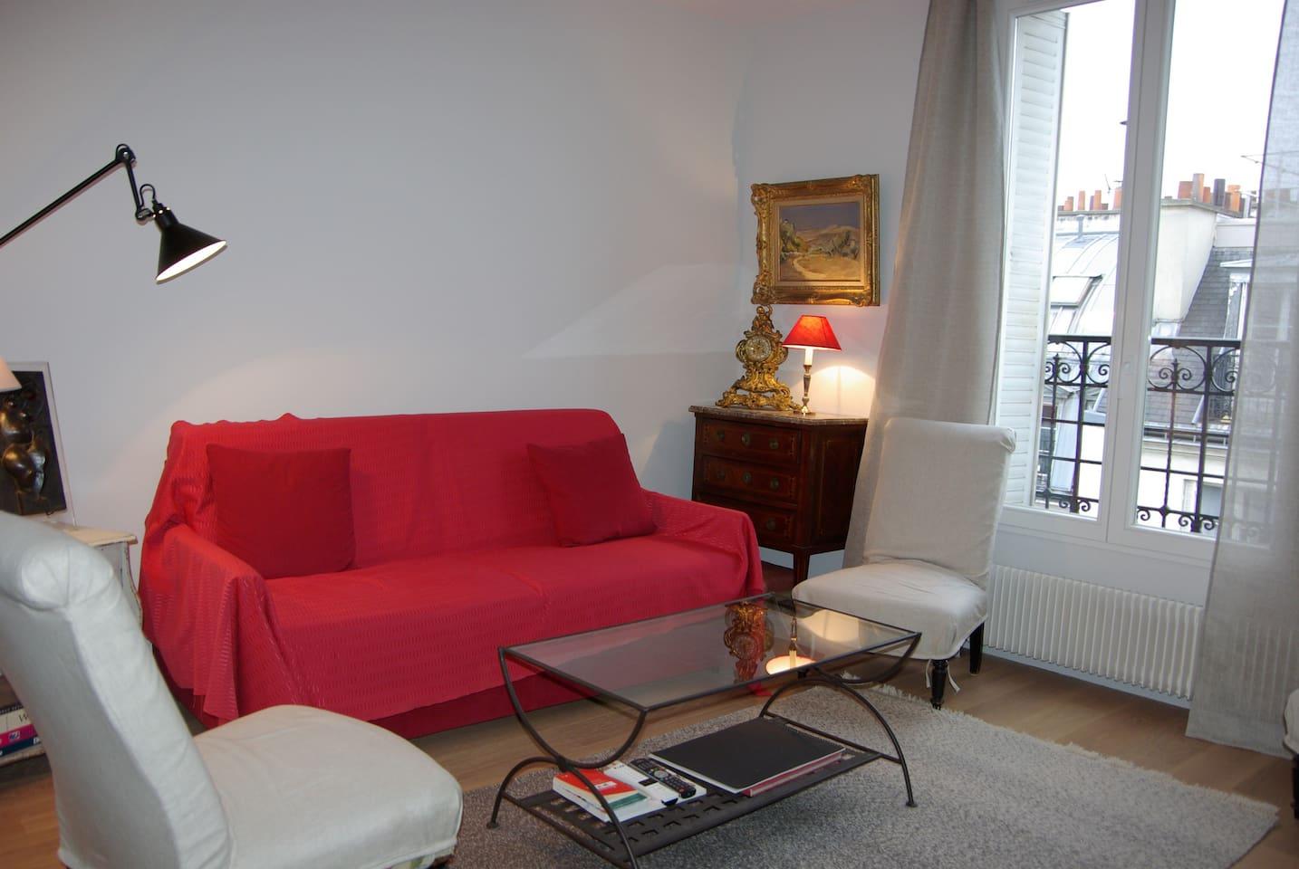 Salon tres lumineux avec canapé lit très confortable