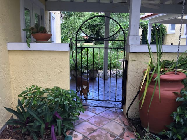 Cottage entrance through gate. Charlotte the dog is anxious to greet you. Please don't let her out.