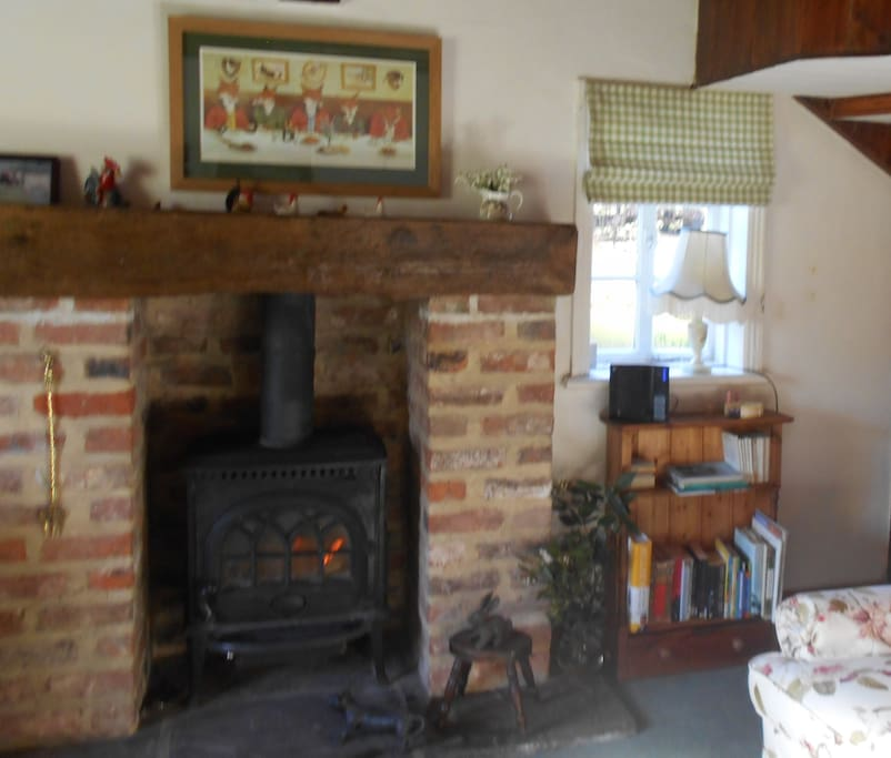 Cottage is gas centrally heated and has a Jotul woodburner
