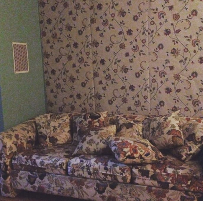This sofa opens out in to a bed. it is extremely comfortable. the wallpaper matches the couch!