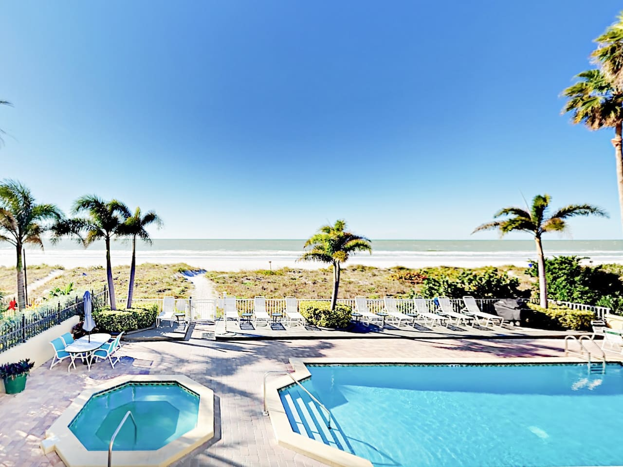 Welcome to Indian Rocks Beach! Your private balcony overlooks the Gulf of Mexico and the pool.