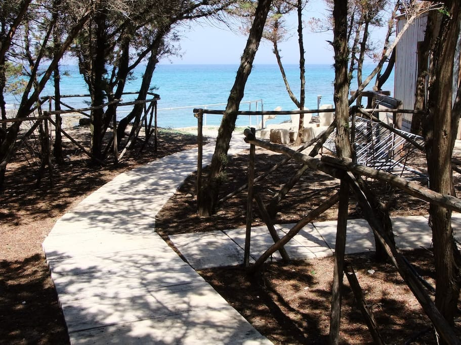 One of the access to the private beach