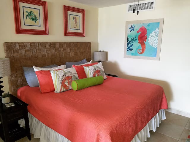 Newly renovated condo with a gorgeous coral decor.