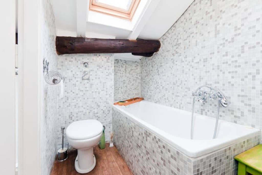 Rooftop Bathroom with a Bathtub