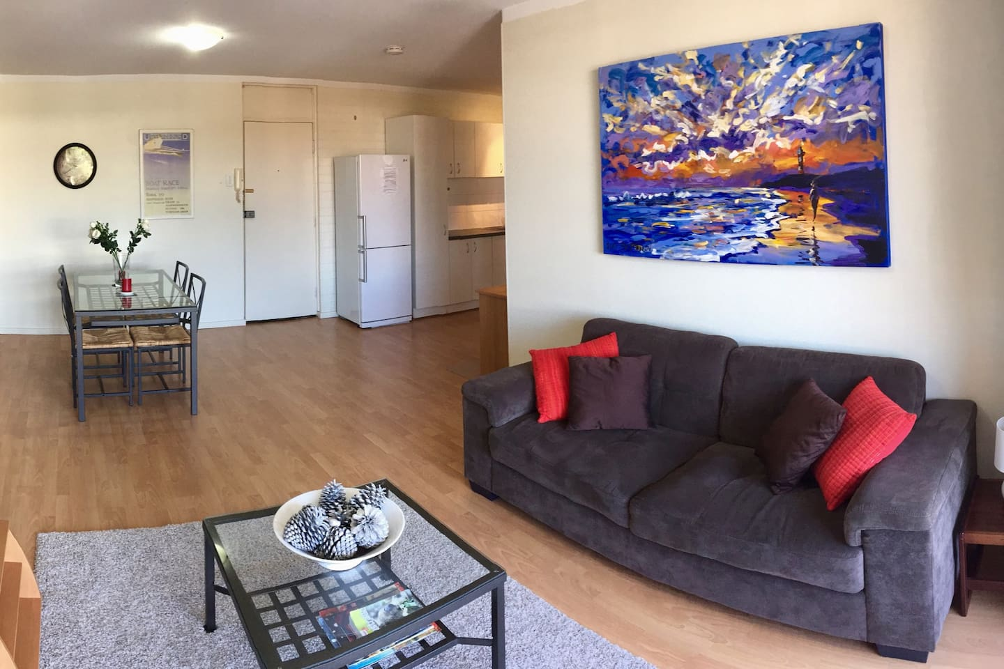 Living, dining and kitchen are open plan