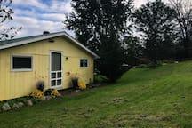 Back Cottage door and back yard.