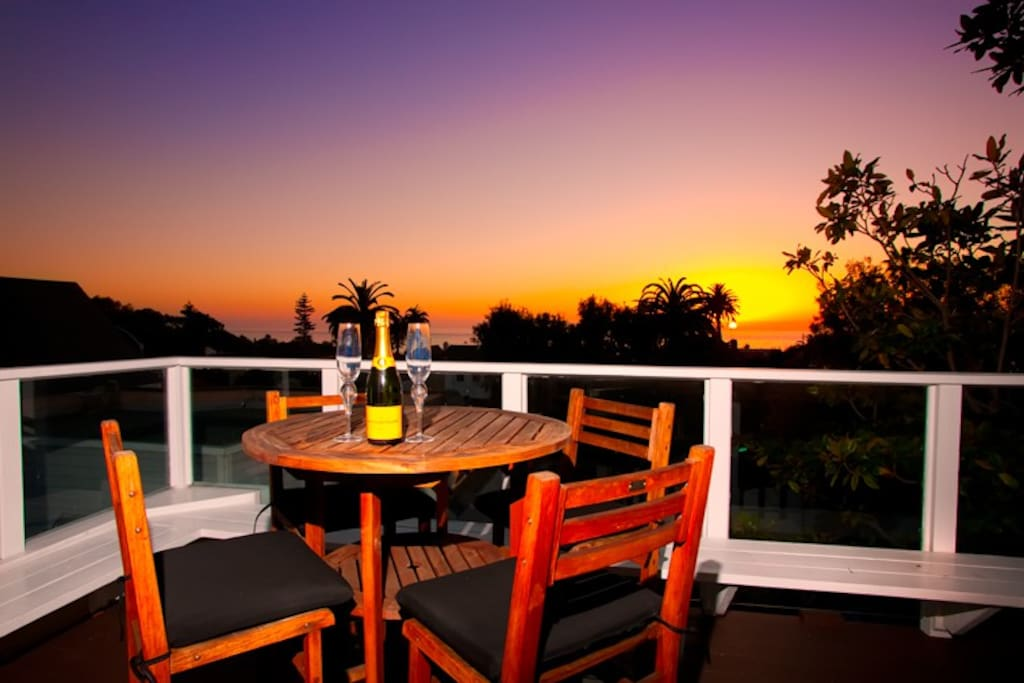 Sunset views are amazing from the roof top deck.