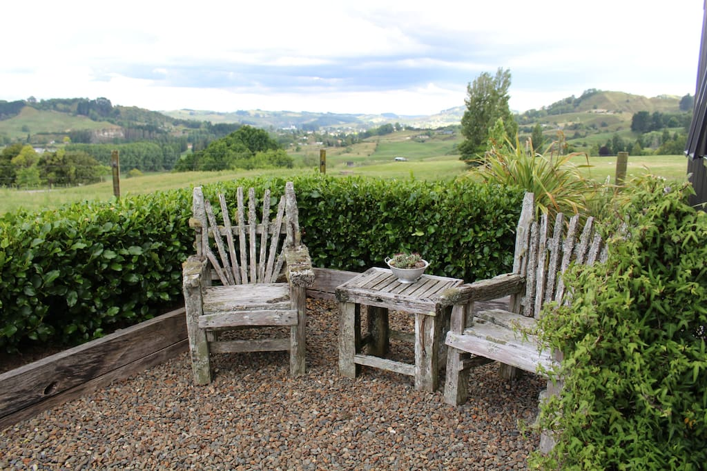 Enjoy a morning cup of coffee with a view of the rolling farmland