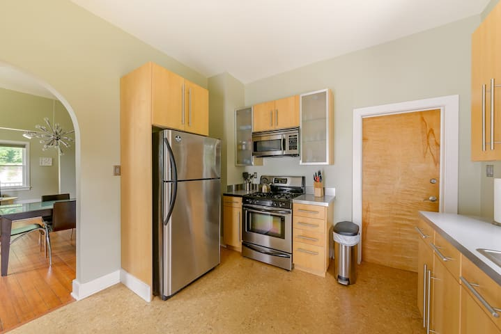 Contemporary fully fitted kitchen with all the equipment you need to prepare a wonderful home cooked meal.