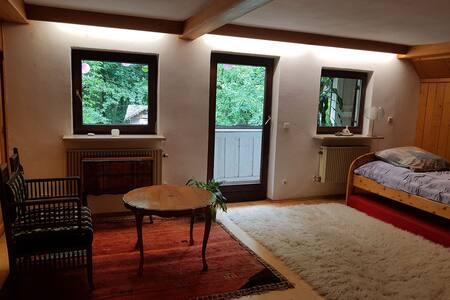 Balkonzimmer mit Waldblick