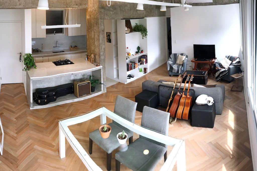 Entrada, Sala + Cozinha