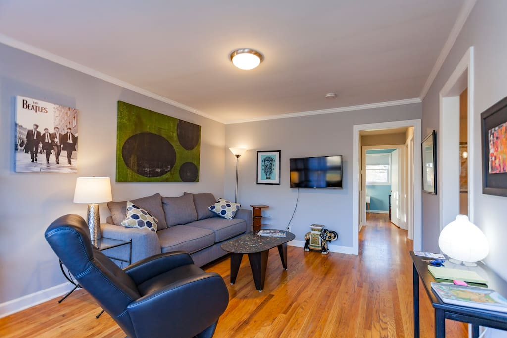 Smart TV and hardwood floors throughout the house